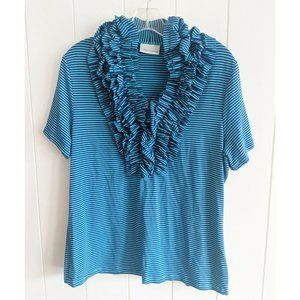 Soft Surroundings Dalia Striped Ruffle Shirt L